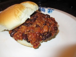 vegetarian barbecue sandwich bun off