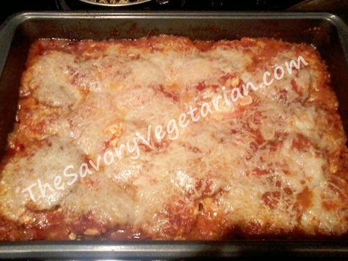 baked eggplant lasagna, ready to eat