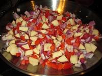 preparing vegetarian potato corn chowder