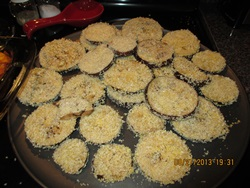 eggplant slices for eggplant parmesan recipe