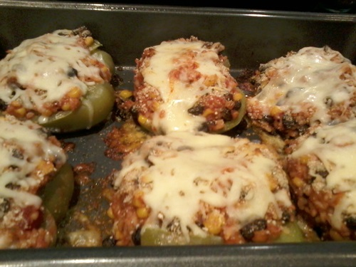 baked vegetarian stuffed peppers recipe