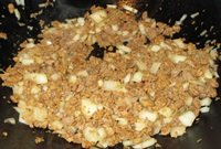 cook onions and soy crumbles for mexican casserole skillet recipe