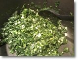 cooking spinach with onions and garlic for enchilada recipe